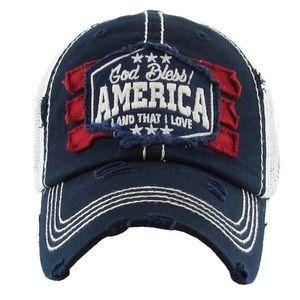 God Bless America Mesh Ball Cap Hat